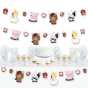 Farm Animals - Barnyard Baby Shower or Birthday Party DIY Decorations - Clothespin Garland Banner - 44 Pieces
