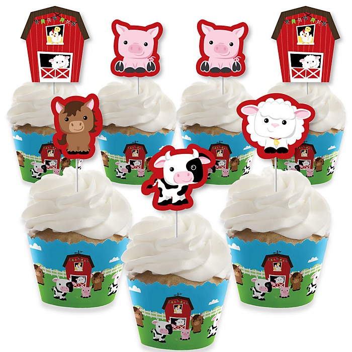 Farm Animals - Cupcake Decorations - Barnyard Baby Shower or Birthday Party Cupcake Wrappers and Treat Picks Kit - Set of 24