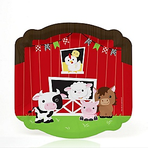 Farm Animals - Barnyard Baby Shower or Birthday Party Dessert Plates  - 16 ct
