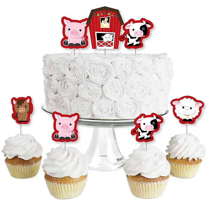 Farm Animals - Dessert Cupcake Toppers - Barnyard Baby Shower or Birthday Party Clear Treat Picks - Set of 24