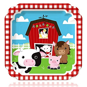 Farm Animals - Barnyard Baby Shower or Birthday Party Dinner Plates - 16 ct