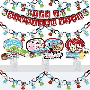 Farm Animals - Banner and Photo Booth Decorations - Barnyard Baby Shower or Birthday Party Supplies Kit - Doterrific Bundle