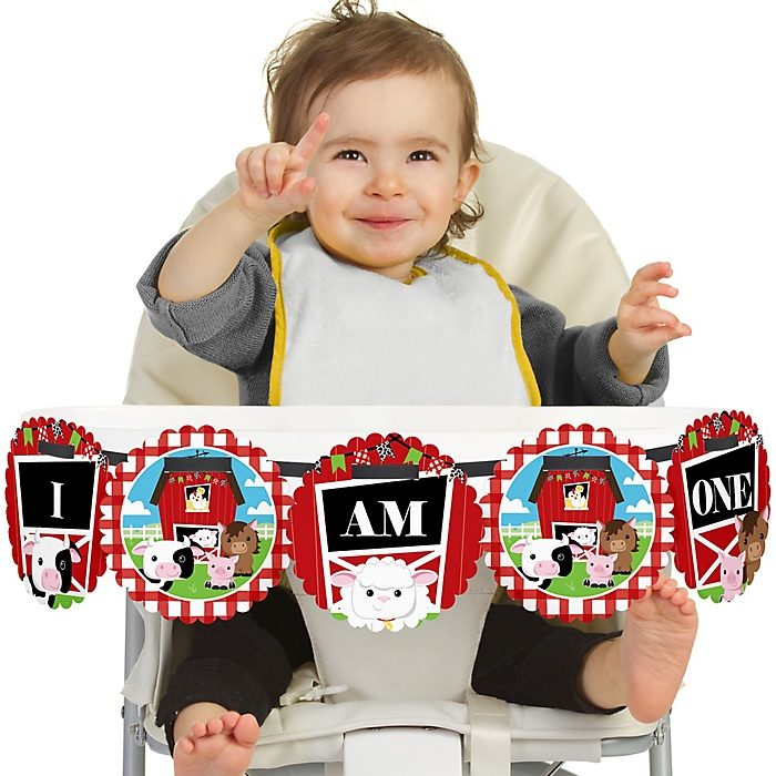 Farm Animals 1st Birthday - I am One - First Birthday High Chair Banner