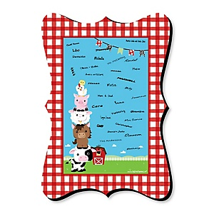 Farm Animals - Unique Alternative Guest Book - Barnyard Baby Shower or Birthday Party Signature Mat