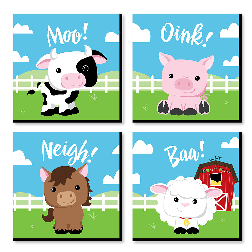 Farm Animals Barnyard Kids Room Nursery Decor And Home 11 X Inches Wall Art Set Of 4 Prints For Baby S