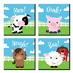 Farm Animals - Barnyard Kids Room, Nursery Decor and Home Decor - 11 x 11 inches Nursery Wall Art - Set of 4 Prints for Baby's Room