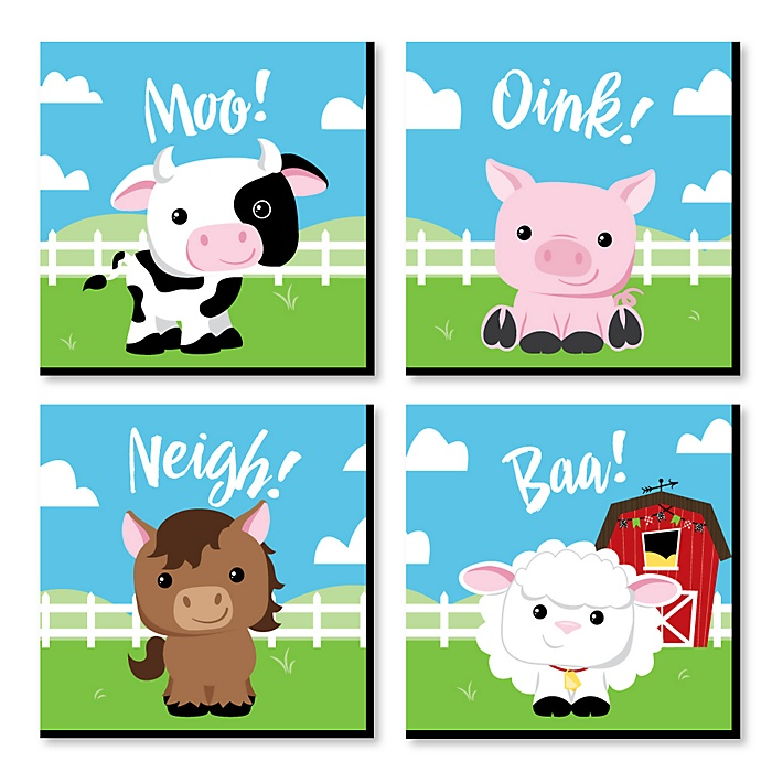 Farm Animals - Barnyard Kids Room, Nursery Decor and Home Decor - 11 x 11 inches Nursery Wall Art - Set of 4 Prints for Baby's Room