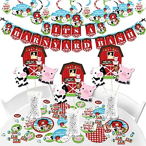Farm Animals - Barnyard Baby Shower or Birthday Party Supplies - Banner Decoration Kit - Fundle Bundle