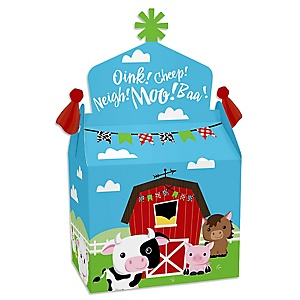 Farm Animals - Treat Box Party Favors - Barnyard Baby Shower or Birthday Party Goodie Gable Boxes - Set of 12