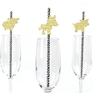 Gold Glitter Cow, Horse, Sheep and Pig Party Straws - No-Mess Real Gold Glitter Cut-Outs and Decorative Farm Animals Barnyard Baby Shower or Birthday Party Paper Straws - Set of 24
