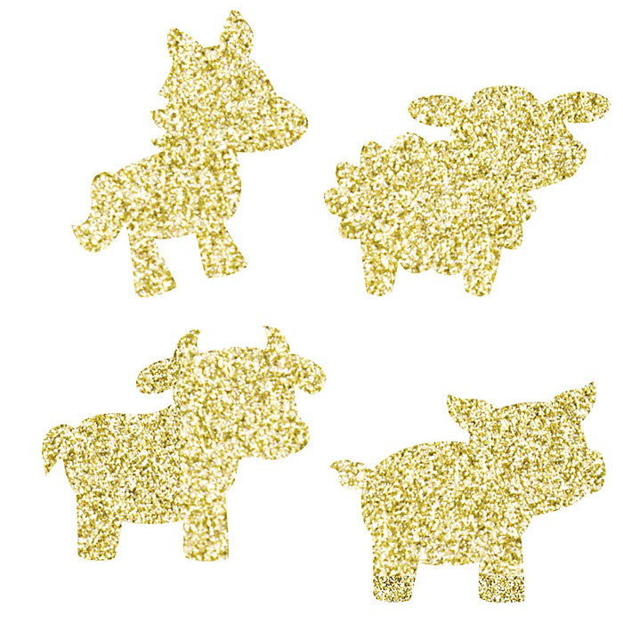 Gold Glitter Cow, Horse, Sheep and Pig - No-Mess Real Gold Glitter Cut-Outs - Farm Animals Barnyard Baby Shower or Birthday Party Confetti - Set of 24