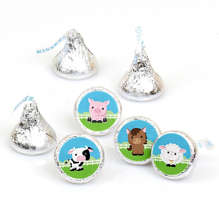 Farm Animals - Barnyard Baby Shower or Birthday Party Round Candy Sticker Favors - Labels Fit Hershey's Kisses - 108 ct