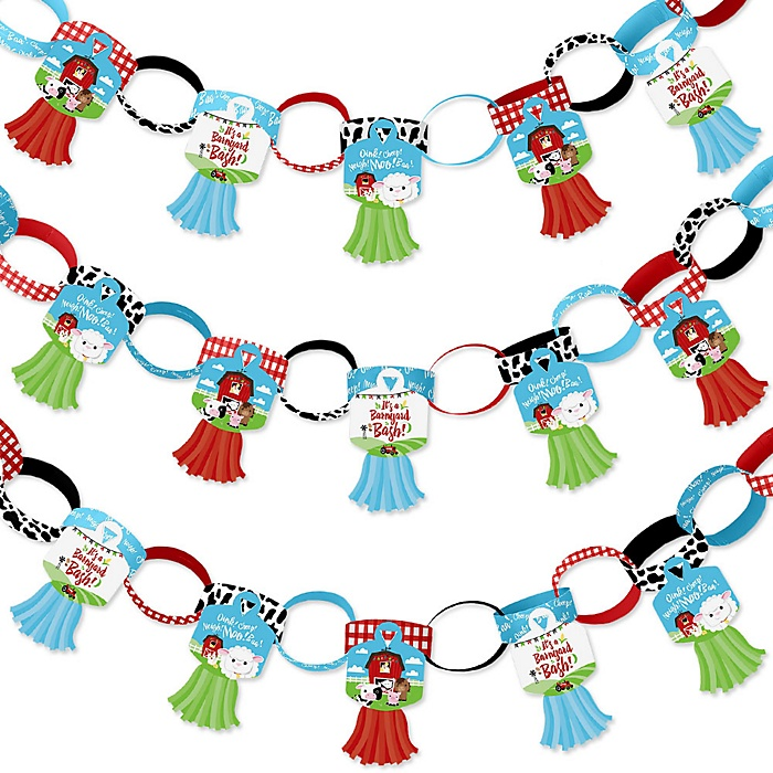 Farm Animals - 90 Chain Links and 30 Paper Tassels Decoration Kit - Barnyard Baby Shower or Birthday Party Paper Chains Garland - 21 feet
