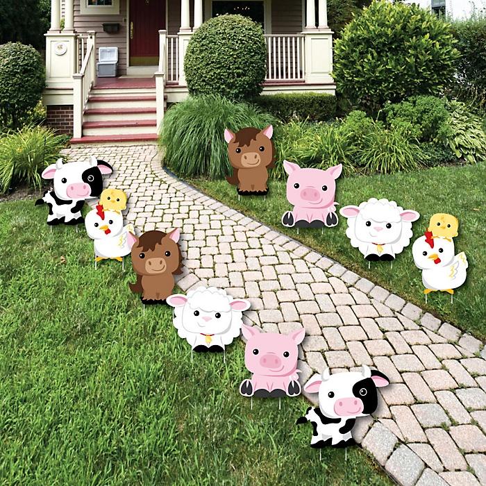 Farm Animals - Barnyard Lawn Decorations - Outdoor Baby Shower or Birthday Party Yard Decorations - 10 Piece