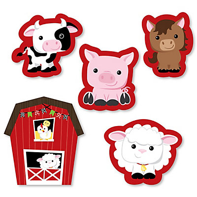 Farm animals shaped party paper cut outs for Animal decoration games for girls