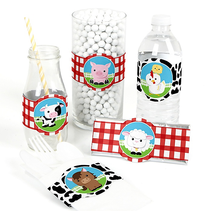 Farm Animals - DIY Party Supplies - Barnyard Baby Shower or Birthday Party DIY Wrapper Favors & Decorations - Set of 15
