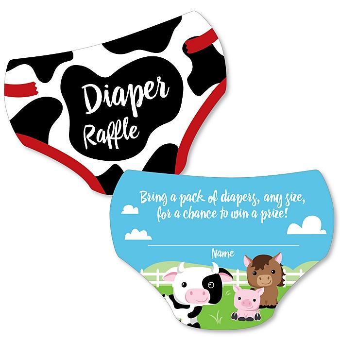 Farm Animals - Diaper Shaped Raffle Ticket Inserts - Barnyard Baby Shower Activities - Diaper Raffle Game - Set of 24