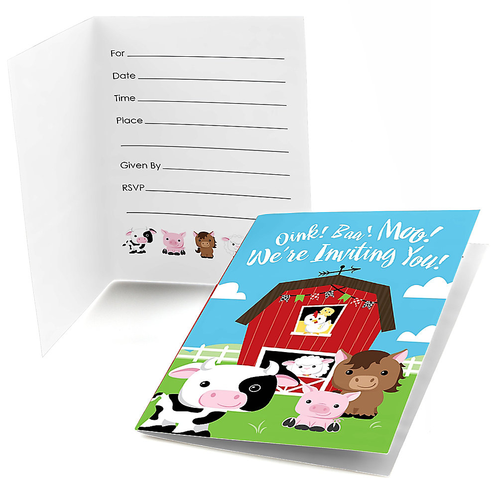 Farm Animals - Fill in Party Invitations - 8 ct ...