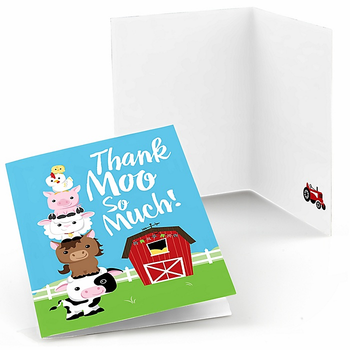Farm Animals - Barnyard Baby Shower or Birthday Party Thank You Cards - 8 ct