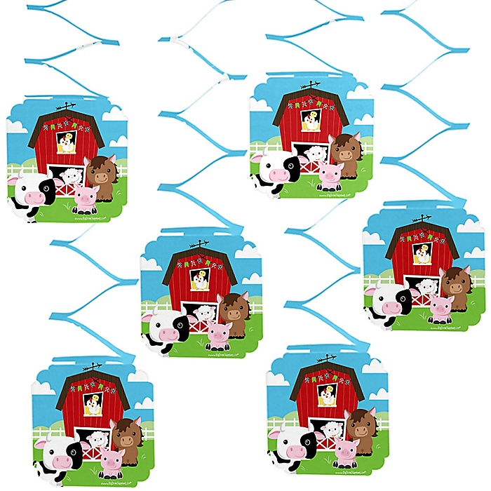 Farm Animals - Barnyard Baby Shower or Birthday Party Hanging Decorations - 6 ct