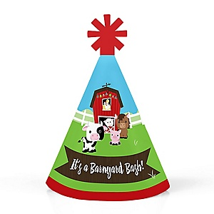 Farm Animals - Personalized Mini Cone Barnyard Baby Shower or Birthday Party Hats - Small Little Party Hats - Set of 10