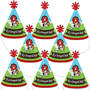 Farm Animals - Mini Cone Barnyard Baby Shower or Birthday Party Hats - Small Little Party Hats - Set of 8