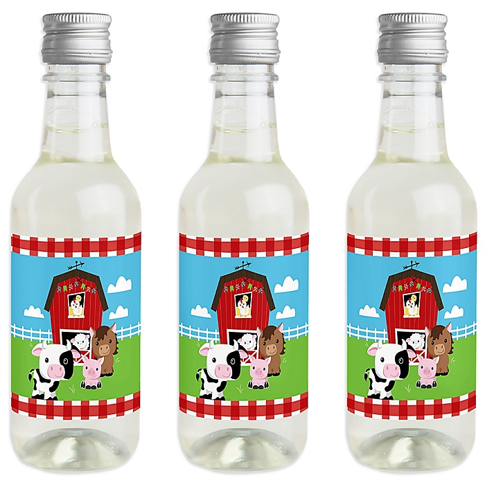 Farm Animals - Mini Wine and Champagne Bottle Label Stickers - Barnyard Baby Shower or Birthday Party Favor Gift for Women and Men - Set of 16