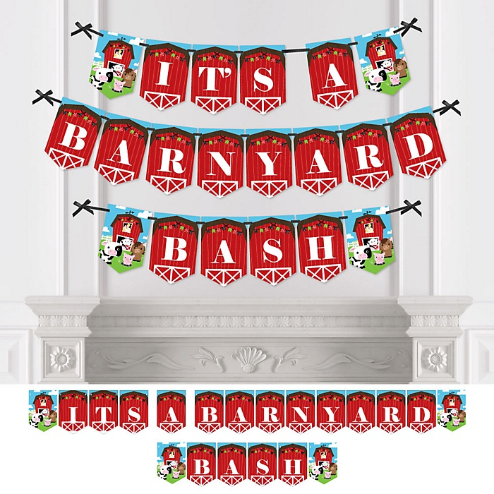 Farm Animals - Barnyard Baby Shower or Birthday Party Bunting Banner - Party Decorations - It's a Barnyard Bash