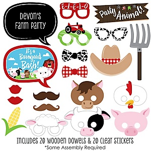 Farm Animals - 20 Piece Photo Booth Props Kit