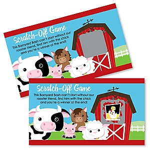 Farm Animals - Barnyard Baby Shower or Birthday Party Game Scratch Off Cards - 22 Count