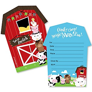 Farm Animals - Shaped Fill-In Invitations - Barnyard Baby Shower or Birthday Party Invitation Cards with Envelopes - Set of 12