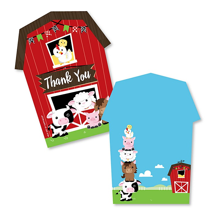Farm Animals - Shaped Thank You Cards - Barnyard Baby Shower or Birthday Party Thank You Note Cards with Envelopes - Set of 12
