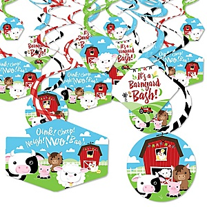 Farm Animals - Barnyard Baby Shower or Birthday Party Hanging Decor - Party Decoration Swirls - Set of 40