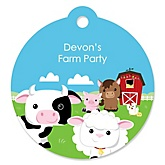 Farm Animals - Round Personalized Party Tags - 20 ct