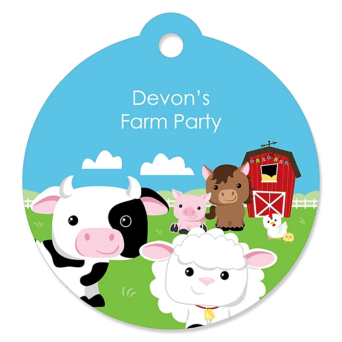 Farm Animals - Personalized Barnyard Baby Shower or Birthday Party Favor Gift Tags - 20 ct