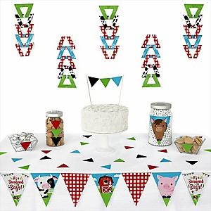 Farm Animals - 72 Piece Triangle Barnyard Baby Shower or Birthday Party Decoration Kit