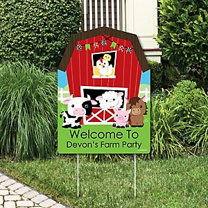 Farm Animals - Party Decorations - Barnyard Baby Shower or Birthday Party Personalized Welcome Yard Sign