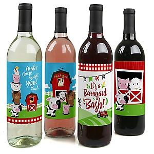 Farm Animals - Barnyard Baby Shower or Birthday Party Decorations for Women and Men - Wine Bottle Label Stickers - Set of 4