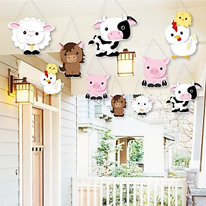 Hanging Farm Animals - Outdoor Barnyard Baby Shower or Birthday Party Hanging Porch & Tree Yard Decorations - 10 Pieces