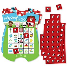 Farm Animals - Picture Bingo Cards and Markers - Barnyard Baby Shower Shaped Bingo Game - Set of 18