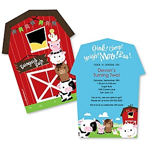 Farm Animals - Shaped Barnyard Birthday Party Invitations - Set of 12