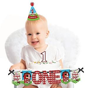 Farm Animals 1st Birthday - First Birthday Boy or Girl Smash Cake Decorating Kit - High Chair Decorations