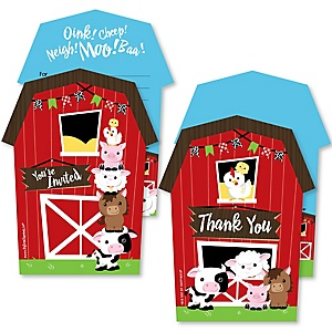 Farm Animals - 20 Shaped Fill-In Invitations and 20 Shaped Thank You Cards Kit - Barnyard Baby Shower or Birthday Party Stationery Kit - 40 Pack