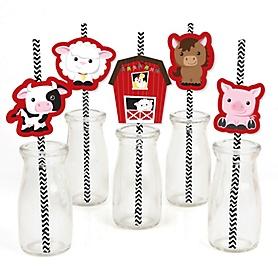 Farm Animals - Paper Straw Decor - Barnyard Baby Shower or Birthday Party Striped Decorative Straws - Set of 24