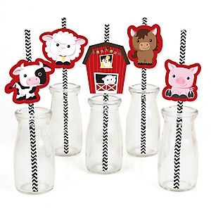 Farm Animals - Paper Straw Decor - Barnyard Baby Shower or Birthday Party Striped Decorative Straws - Set of 24
