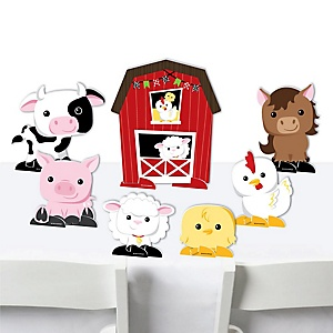 Farm Animals - Barnyard Baby Shower or Birthday Party Centerpiece Table Decorations - Tabletop Standups - 7 Pieces