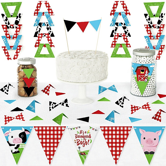 Farm Animals - DIY Pennant Banner Decorations - Barnyard Baby Shower or Birthday Party Triangle Kit - 99 Pieces