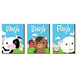 Farm Animals - Barnyard Kids Bathroom Rules Wall Art - 7.5 x 10 inches - Set of 3 Signs - Wash, Brush, Flush
