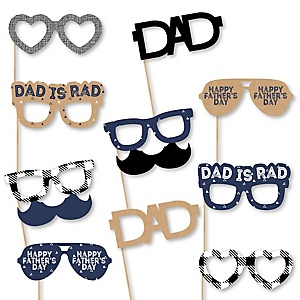 My Dad is Rad Glasses - Paper Card Stock Father's Day Photo Booth Props Kit - 10 Count