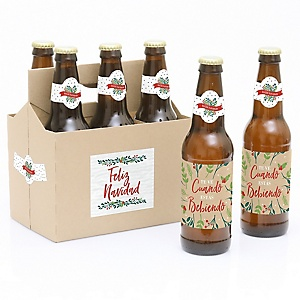 Feliz Navidad - Decorations for Women and Men - 6 Holiday and Spanish Christmas Party Beer Bottle Label Stickers and 1 Carrier